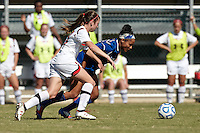 SAN ANTONIO, TX - OCTOBER 31, 2012: The Big 12 Conference Women's Soccer Championship - Game 2 featuring the Texas Tech University Red Raiders vs. the Kansas University Jayhawks at Blossom Soccer Stadium. (Photo by Jeff Huehn)
