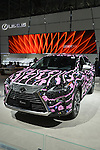 Lexus RX, decorated with old-fashioned pink telephone handsets on outspace background by Jeremy Scott, is on display at the New York International Auto Show 2016, at the Jacob Javits Center. For New York Fashion Week, Lexus commissioned designer Scott to wrap10 Lexus RX cars in prints from his Fall collection inspired by space cowgirl, a sign explained. This was Press Preview Day one of NYIAS, and the Trade Show will be open to the public for ten days, March 25th through April 3rd.