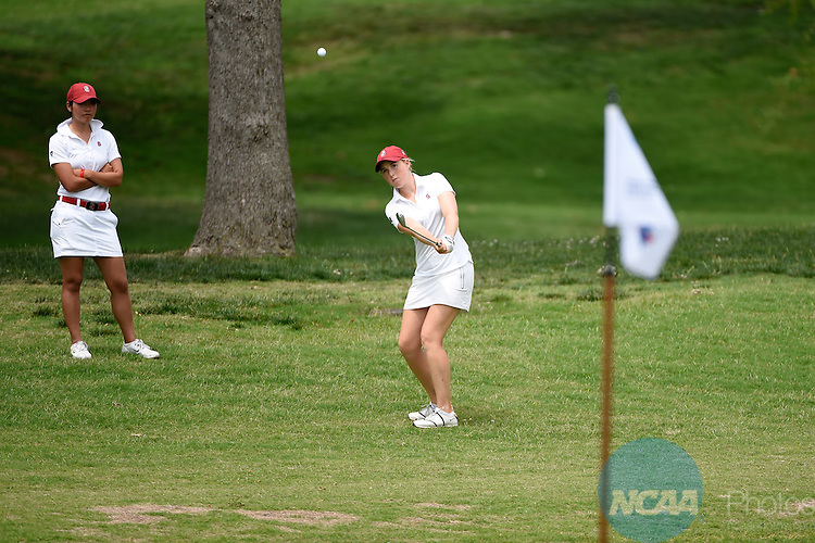 23 MAY 2014:  Casey Danielson of Stanford University chips onto the green during the Division I Women's Golf Championship held at the Tulsa Country Club in Tulsa, OK.  Jamie Schwaberow/NCAA Photos