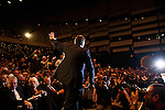 Aleksandar Vucic waves to the crowd as he walks on stage at the Serbian Progressive Party (SNS) congress at Sava Center in Belgrade, Serbia. May 15, 2012...Matt Lutton for The Wall Street Journal.BELGRADE