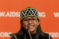 Ayu Oktariani speaks at a press conference prior to the opening session of the 20th International AIDS Conference (AIDS 2014) at the Melbourne Convention and Exhibition Centre.<br /> For licensing of this image please go to http://demotix.com