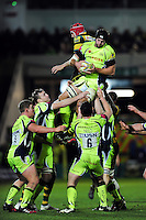 Josh Beaumont of Sale Sharks wins the ball at a lineout. Aviva Premiership match, between Northampton Saints and Sale Sharks on December 23, 2016 at Franklin's Gardens in Northampton, England. Photo by: Patrick Khachfe / JMP