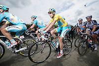 yellow jersey Vincenzo Nibali (ITA/Astana) escorted by his teammates near the front<br /> <br /> 2014 Tour de France<br /> stage 4: Le Touquet-Paris-Plage/Lille M&eacute;tropole (163km)