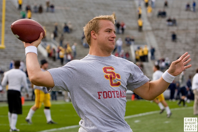 10/17/09 - South Bend, IN:  USC quarterback Matt Barkley warms up for his game against Notre Dame at Notre Dame Stadium on Saturday.  USC won the game 34-27 to extend its win streak over Notre Dame to 8 games.  Photo by Christopher McGuire.