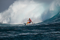 CLOUDBREAK, Tavarua/Fiji (Sunday, June 10, 2012) Joel Parkinson (AUS). - The Volcom Fiji Pro, Event No. 4 of 10 on the 2012 ASP World Championship Tour, recommenced this afternoon in four-to-six foot (1.5 - 2 metre) waves at Cloudbreak, completing Round 5 and the opening two Quarterfinal match-ups before calling competition off for the day due to unfavourable winds.. .Mick Fanning (AUS), 30, two-time ASP World Champion and current ASP World No. 2, had a banner day out at Cloudbreak, besting former event winner Damien Hobgood (USA), 32, and lethal rookie John John Florence (HAW), 19, en route to the Semifinals...Fanning will face Gabriel Medina (BRA), 19, in the Semifinals of the Volcom Fiji Pro.. .Medina continued his impressive run in Fiji this afternoon, taking out perennial ASP World Title contender Taj Burrow (AUS), 34, in their Quarterfinal bout. Photo: joliphotos.com