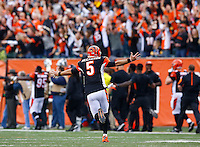 AJ McCarron #5 of the Cincinnati Bengals reacts following a touchdown pass in the first quarter against the Pittsburgh Steelers during the game at Paul Brown Stadium on December 12, 2015 in Cincinnati, Ohio. (Photo by Jared Wickerham/DKPittsburghSports)