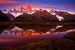 Fitz Roy is set aglow at sunset.