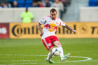 Jonny Steele (22) of the New York Red Bulls. The New York Red Bulls and the Columbus Crew played to a 2-2 tie during a Major League Soccer (MLS) match at Red Bull Arena in Harrison, NJ, on May 26, 2013.