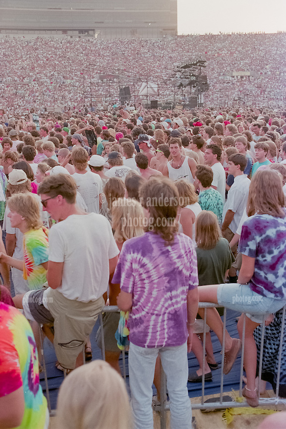 Fans at The Grateful Dead at Foxboro Stadium 2 July 1989. 25th Anniversary Tour. Audience photo taken at before the show starts.