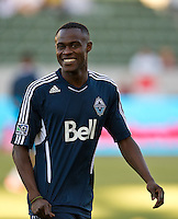CARSON, CA - June 23, 2012: Vancouver Whitecaps midfielder Gershon Koffie (28) prior to the LA Galaxy vs Vancouver Whitecaps FC match at the Home Depot Center in Carson, California. Final score LA Galaxy 3, Vancouver Whitecaps FC 0.