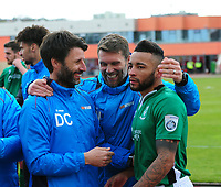 Lincoln City's Nathan Arnold celebrates the win with Lincoln City manager Danny Cowley and Jimmy Walker<br /> <br /> Photographer Andrew Vaughan/CameraSport<br /> <br /> Vanarama National League - Gateshead v Lincoln City - Monday 17th April 2017 - Gateshead International Stadium - Gateshead <br /> <br /> World Copyright &copy; 2017 CameraSport. All rights reserved. 43 Linden Ave. Countesthorpe. Leicester. England. LE8 5PG - Tel: +44 (0) 116 277 4147 - admin@camerasport.com - www.camerasport.com