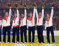 Members of the USWNT salute the crowd after playing for the gold medal at Workers' Stadium.  The USWNT defeated Brazil, 1-0, during the 2008 Beijing Olympic final in Beijing, China.