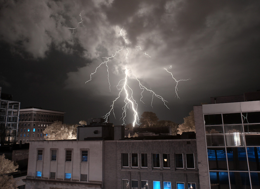 A lightning strike is captured using an infrared camera behind the Downtown Mall in Charlottesville, VA. Photo/Andrew Shurtleff