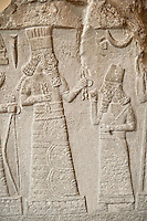 8th Cent. B.C Babylonian limestone  stele with inscription & relief sculpture of the governor of Mari and Suhi praying to the Gods from the Palace Museum Babylon, Iraq. The inscription states that the governor reigned for 13 years and built the city of Gabarri-ibni also making canals for new date palm cultivation in different cities, and working on the development of agriculture in the city of Suhi. Istanbul Archaeological Museum Inv. 7815