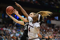 Dallas, TX - Friday March 31, 2017: Brittany Mcphee prior to the NCAA National Semifinal Game between the women's basketball teams of Stanford and South Carolina at the American Airlines Center.