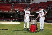 Manager David Bell, left, and hitting coach Ryan Jackson. The 2010 Carolina Mudcats during a practice at Five County Stadium in Zebulon, North Carolina, April 6, 2010.