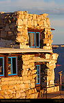 Lookout Studio at Sunrise (detail), Mary Colter 1914, Grand Canyon Village, South Rim, Grand Canyon, Arizona