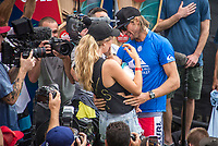 COOLANGATTA, Queensland/AUS (Sunday, March 19, 2017) Owen Wright AUS) with girlfriend kita Alexander (AUS) and their son Vali - The Quiksilver and Roxy Pro Gold Coast was called ON today in three - to - four foot (1 m) surf at Snapper Rocks. The event got underway at 7:05 a.m. with the Men's Quarterfinals followed by the Women's Quarterfinals and ran through to the finals with Owen Wright (AUS) posting a victory with his first event back from injury and Stephanie Gilmore (AUS) adding another Roxy Pro title to her name. Wright defeated defending event champion Matt Wilkinson(AUS) in an all goofy-foot final while Lakey Peterson (USA) was runner up to Gilmore.   Photo: joliphotos.com