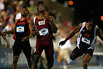13 JUNE 2008:  Washington State's Jeshua Anderson, middle, was an upset winner in the men's 400 meter hurdles at the NCAA Division 1 Men's and Women's Track &amp; Field Championships in Des Moines, Iowa.  At left is Georgia's Justin Gaymon, who was disqualified, and at right is Auburn's Rueben McCoy, who finished second.  David Peterson