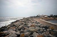 A boulder wall has been made all along the kichankuppam-Akerapett beach after 2004 Tsunami. Nagapattinam, Tamil Nadu, India.