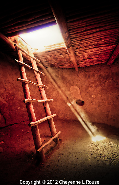 Ancient Kiva ladder - Alcove House - Bandeleier NM - New Mexico <br /> &copy; 2012 Cheyenne L Rouse/All rights reserved