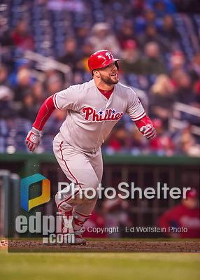 28 April 2016: Philadelphia Phillies catcher object} watches his game winning double fly out to right field in the 9th inning against the Washington Nationals at Nationals Park in Washington, DC. The Phillies shut out the Nationals 3-0 to sweep their mid-week, 3-game series. Mandatory Credit: Ed Wolfstein Photo *** RAW (NEF) Image File Available ***