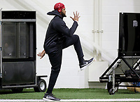 NWA Democrat-Gazette/DAVID GOTTSCHALK  Deatrich Wise Jr. warms up Wednesday, March 15, 2017, during the Arkansas Pro Day inside the Walker Pavilion on the campus of the University of Arkansas in Fayetteville.