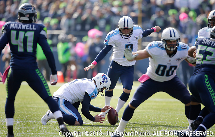 Tennessee Titians kicker Rob Bironas (2) kicks a 38-yard field goal against the Seattle Seahawks at CenturyLink Field in Seattle, Washington on October 13, 2013. The Seattle Seahawks beat the Titians  20-13.   ©2013. Jim Bryant Photo. All Rights Reserved.