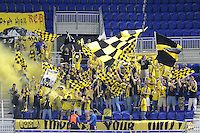 Columbus Crew fans celebrate the team's second goal. The Columbus Crew defeated the New York Red Bulls 3-1 during a Major League Soccer (MLS) match at Red Bull Arena in Harrison, NJ, on May 20, 2010.