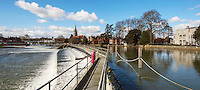 BNPS.co.uk (01202 558833)<br /> Pic: PhilYeomans/BNPS<br /> <br /> The Thames and weir at Marlow today.<br /> <br /> 'Old man river, he just keeps rollin' - A remarkable collection of panoramic photographs of the Thames taken 160 years ago have emerged for auction, and they reveal how little the famous old river has changed in the last century and a half.<br /> <br /> They follow the river from London to Oxford in 40 photographs providing a fascinating insight into how the famous river looked in the mid-19th century.<br /> <br /> Londoner Victor Prout started photographing the Thames in 1857 using a camera which would produce wide-vision images because of a lens that swung round and 'scanned' sections of the picture.<br /> <br /> This rare complete copy of the first edition of Prout's pioneering panoramics has emerged for auction and is tipped to sell for &pound;12,000 when they go under the hammer at Bonhams on March 1.