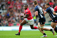 LCpl Semesa Rokoduguni of the British Army goes on the attack. Babcock Inter-Services Championship match between the British Army and the Royal Navy on April 30, 2016 at Twickenham Stadium in London, England. Photo by: Patrick Khachfe / Onside Images