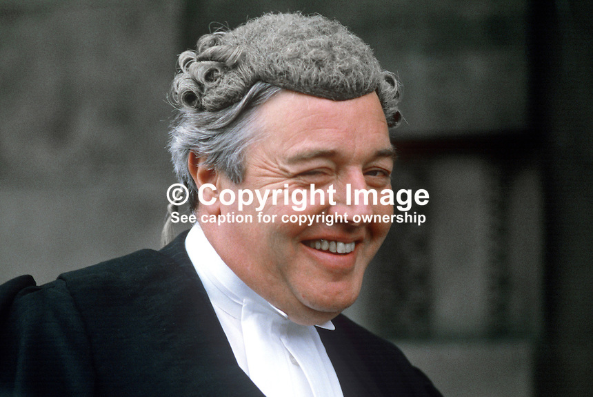 Patrick McEntee, barrister, Rep of Ireland, on the occasion of his being called to the N Ireland Bar. 19840084PME2.<br /> <br /> Copyright Image from Victor Patterson, 54 Dorchester Park, Belfast, UK, BT9 6RJ<br /> <br /> t1: +44 28 9066 1296 (from Rep of Ireland 048 9066 1296)<br /> t2: +44 28 9002 2446 (from Rep of Ireland 048 9002 2446)<br /> m: +44 7802 353836<br /> <br /> e1: victorpatterson@me.com<br /> e2: victorpatterson@gmail.com<br /> <br /> The use of my copyright images is subject to my Terms &amp; Conditions.<br /> <br /> It is IMPORTANT that you familiarise yourself with them. They are available on my website at www.victorpatterson.com.<br /> <br /> None of my copyright images may be used on a website unless they are visibly watermarked, i.e. &copy; Victor Patterson within the body of the visible image. Metadata denoting my copyright must NOT be deleted. <br /> <br /> Web use is extra at currently recommended NUJ rates.