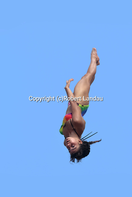 Girl jumping on trampolene at Muscle Beach in Venice, CA date unk.