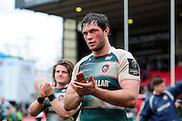 Dom Barrow of Leicester Tigers acknowledges the crowd after the match. European Rugby Champions Cup quarter final, between Leicester Tigers and Stade Francais on April 10, 2016 at Welford Road in Leicester, England. Photo by: Patrick Khachfe / JMP