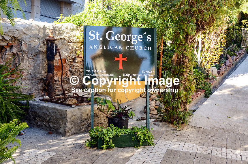 Signage, St George's Anglican Church, Malaga, Andalusia, Spain, 201313203062<br />