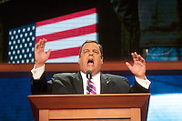 TAMPA, FL - August 29, 2012: New Jersey Governor Chris Christie speaking at the 2012 Republican National Convention.