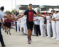 Jacksonville, Florida - Saturday, June 7, 2014: The US Men's National team arrives at EverBank Field.