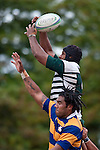 Kalileo Nofoakifolau & Alipeni Olosoni compete for lineout ball. Counties Manukau Premier Club Rugby game between Manurewa and Patumahoe played at Mountfort Park Manurewa on Saturday 3rd April 2010..Patumahoe won 26 - 8 after leading 14 - 3 at halftime.