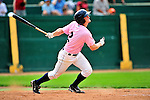 "18 July 2010: Vermont Lake Monsters infielder Justin Miller in action against the Staten Island Yankees at Centennial Field in Burlington, Vermont. The Lake Monsters, dressed in their Breast Cancer Awareness ""Pinks"", fell to the Yankees 9-5 in NY Penn League action. Mandatory Credit: Ed Wolfstein Photo"