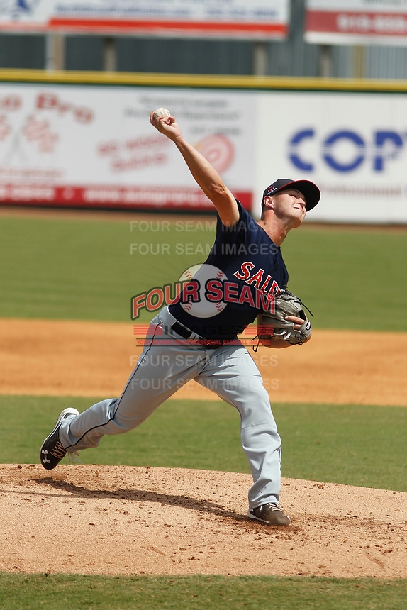 Salem Red Sox pitcher Travis Lakins (3) on the mound during a game against the Down East Wood Ducks  at Grainger Stadium on April 16, 2017 in Kinston, North Carolina. Salem defeated Down East 9-2. (Robert Gurganus/Four Seam Images)
