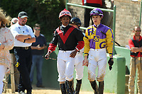 HOT SPRINGS, AR - APRIL 15: Jockey Ricardo Santana, Jr. (right) and  jockey Giovanni Franco (left) before the Count Fleet Sprint Handicap at Oaklawn Park on April 15, 2017 in Hot Springs, Arkansas. (Photo by Justin Manning/Eclipse Sportswire/Getty Images)