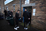 Forfar Athletic 1 Edinburgh City 2, 02/02/2017. Station Park, SPFL League 2. Visiting players and staff disembark from the team bus at Station Park, Forfar before the SPFL League 2 fixture between Forfar Athletic and Edinburgh City. It was the club's sixth and final meeting of City's inaugural season since promotion from the Lowland League the previous season. City came from behind to win this match 2-1, watched by a crowd of 446. Photo by Colin McPherson.