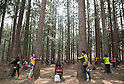People participate in a Tree Hug event in Pocheon