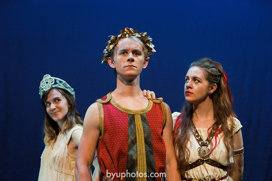1705-11 308<br /> <br /> Hera (Hannah Staley), Jason (Dylan Wright) and Medea (Oliva Ockey) ) in BYU&rsquo;s family production of &ldquo;Agonautika&rdquo; by Mary Zimmerman.<br /> <br /> 1705-11 TMA Argonautika<br /> <br /> May 3, 2017<br /> <br /> Photo by  Aaron Cornia/BYU<br /> <br /> Copyright BYU Photo 2017<br /> All Rights Reserved<br /> photo@byu.edu  <br /> (801)422-7322