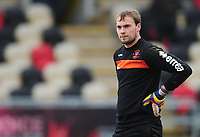 Blackpool's Sam Slocombe during the pre-match warm-up <br /> <br /> Photographer Kevin Barnes/CameraSport<br /> <br /> The EFL Sky Bet League Two - Saturday 18th March 2017 - Newport County v Blackpool - Rodney Parade - Newport<br /> <br /> World Copyright &copy; 2017 CameraSport. All rights reserved. 43 Linden Ave. Countesthorpe. Leicester. England. LE8 5PG - Tel: +44 (0) 116 277 4147 - admin@camerasport.com - www.camerasport.com