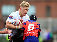 TORONTO, ON - MAY 06:  Dan Fleming #10 of Toronto Wolfpack is tackled by Scott Fleming #6 of Oxford RLFC during the second half of a Kingstone Press League 1 match at Lamport Stadium on May 6, 2017 in Toronto, Canada.  (Photo by Vaughn Ridley/SWpix.com)