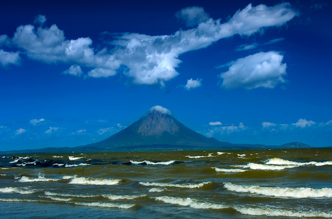 The rough waters of Lake Nicaragua lead the eye to the Concepcion Volcano on Ometepe Island.