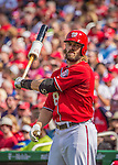 15 September 2013: Washington Nationals outfielder Jayson Werth on deck against the Philadelphia Phillies at Nationals Park in Washington, DC. The Nationals took the rubber match of their 3-game series 11-2 to keep their wildcard postseason hopes alive. Mandatory Credit: Ed Wolfstein Photo *** RAW (NEF) Image File Available ***
