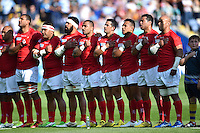 The Tonga team sing their national anthem prior to the match. Rugby World Cup Pool C match between Argentina and Tonga on October 4, 2015 at Leicester City Stadium in Leicester, England. Photo by: Patrick Khachfe / Onside Images
