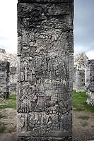 Warrior in relief, Northeast Colonnade, 900 ? 1200 AD, Chichen Itza, Yucatan, Mexico. Picture by Manuel Cohen